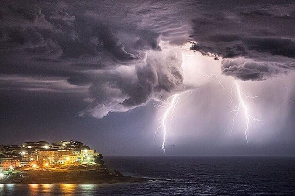 lightning over Bondi during the perfect storm