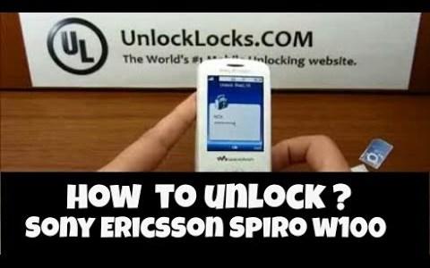How To Unlock Sony Ericsson Spiro (W100, W100a and W100i) ?
