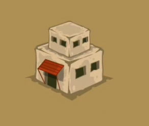 Draw huts or houses