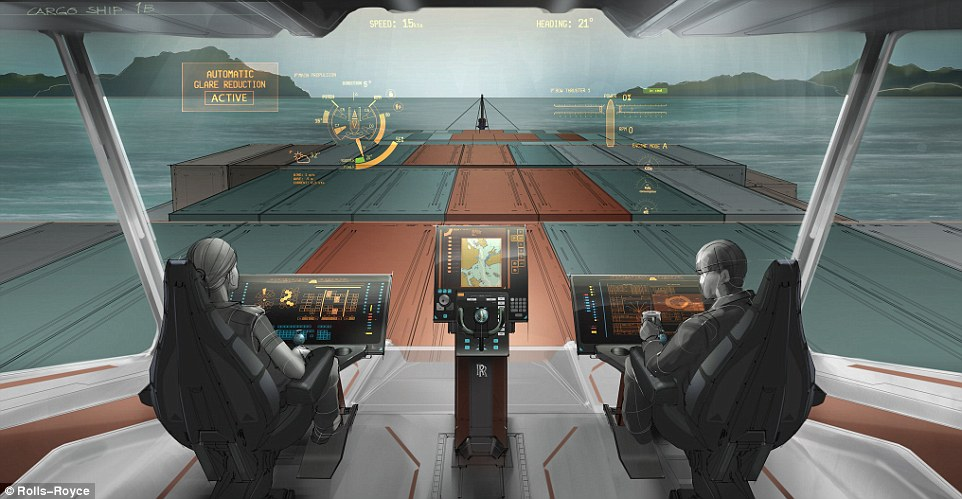 drone cargo ship, virtual reality deck