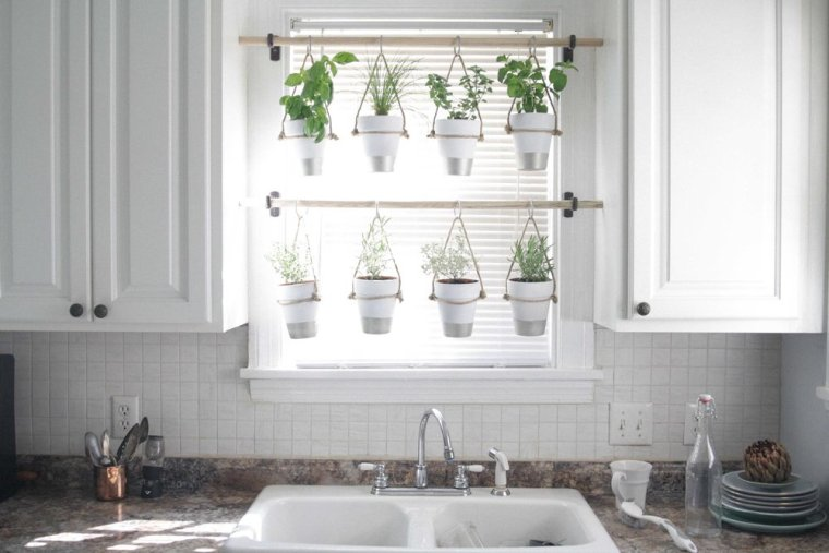 hanging diy potted herbs