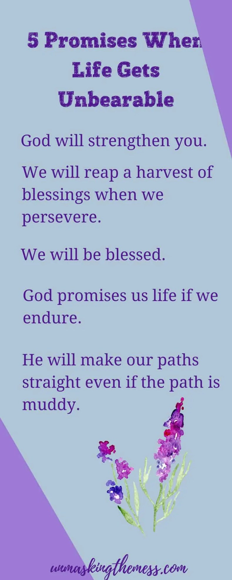 5 Promises When Your Life Journey is Difficult.When life is going well, I can walk this life journey in faith. When it gets hard, little accumulations cause me to want to throw in the towel. #God #strength #Christian #truths #choices