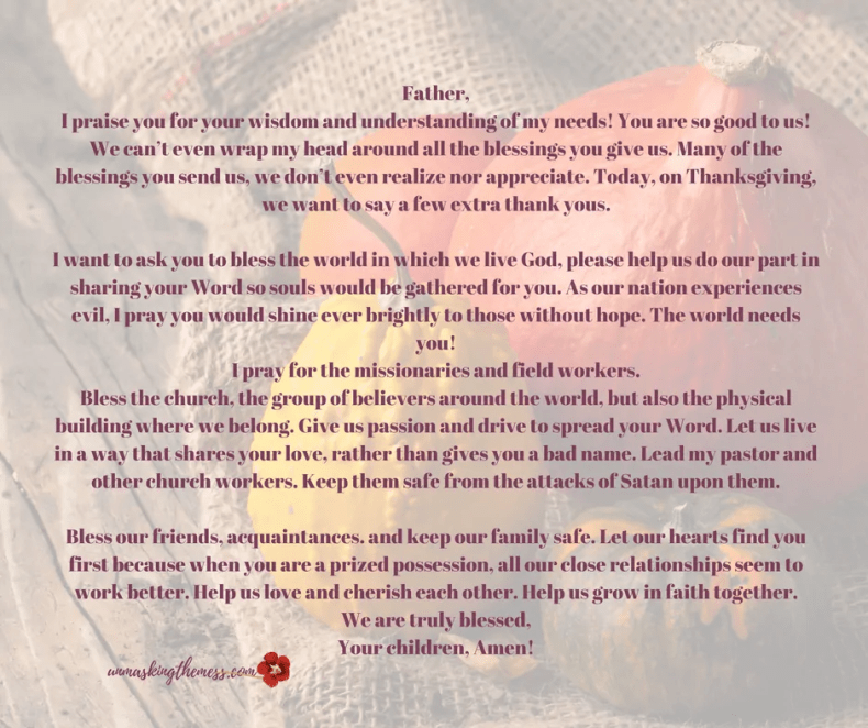 Want A Great Thanksgiving Prayer To Share At Your Holiday