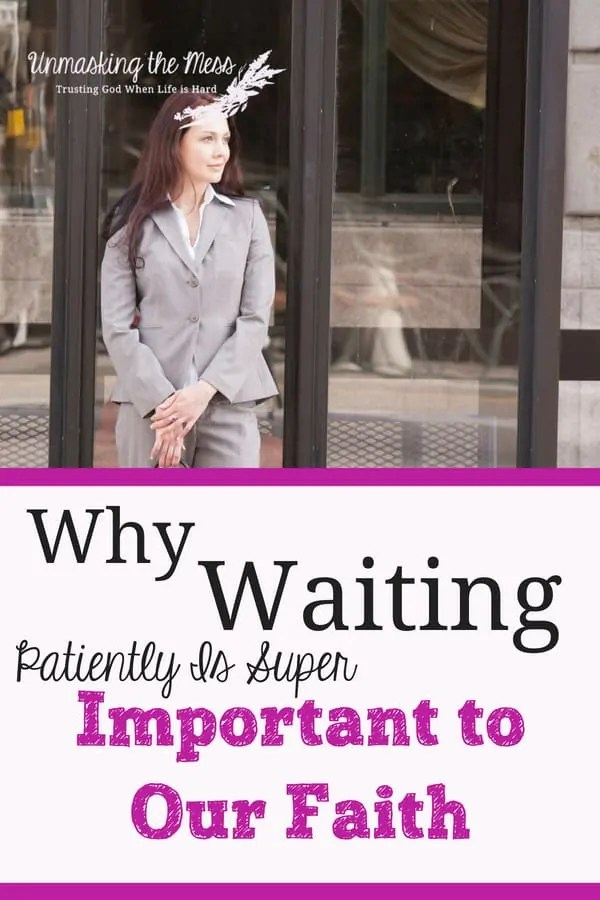 Why Waiting Patiently is Super Important to our Faith. Waiting patiently is an important characteristic of being a Christian. We need to be patient during suffering and trials and willingly endure our slow growth to be more Christ-like. We can learn lessons during these waiting times if we ask God for wisdom as we endure! #waitingpatiently #waitingonGod #tiredofwaiting #bibleverses #faith