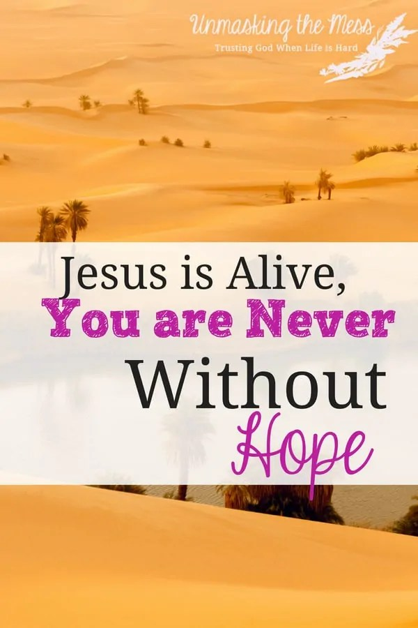 Jesus is Alive, You are Never Without Hope. Many people are hopeless and searching for something to fill up their hurting hearts. We won't find hope unless we find it in Jesus. Jesus is alive and the hope He offers is real. Any hopeless situation can be turned when we put our faith and trust in Him. #quotes #hopeinGod #BIbleverses #inspiration #hopeforthefuture