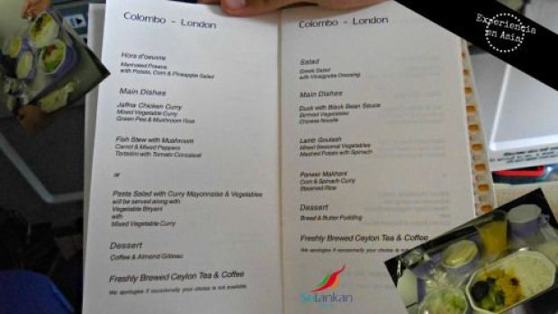 sri lankan airlines menu