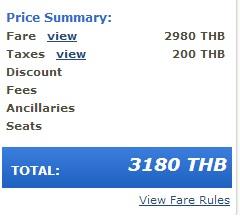 Precio del vuelo con impuestos Bangkok Airways