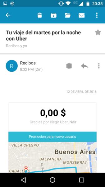 Recibo por viaje de Uber vía mail