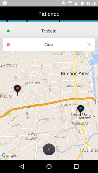 Trayecto Uber Buenos Aires
