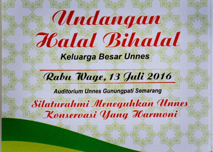 Besok Rabu 13 Juli Halal Bihalal Unnes