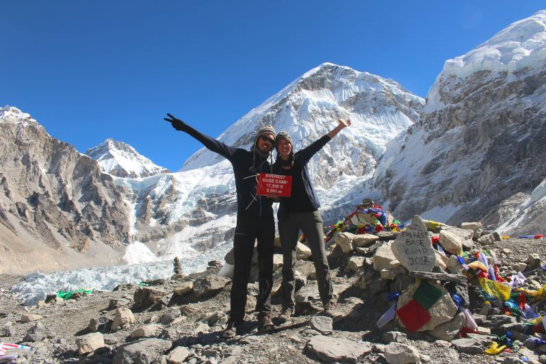 Lisa et moi au camp de base de l'Everest au Népal
