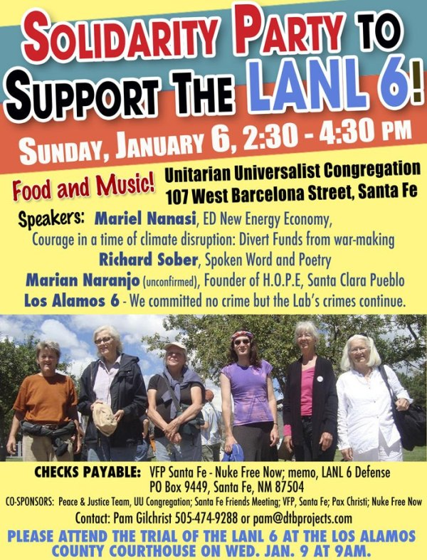 LANL 6 solidarity party flyer
