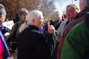 Pam Gilchrist, one of the LANL 6, talks with people outside the courthouse following the trial on Jan. 9th.