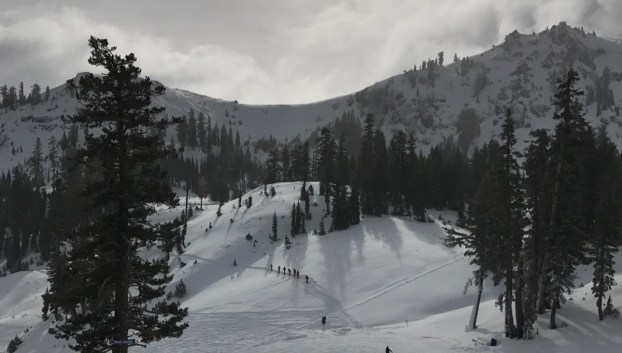 A stream of skiers and riders established a traverse to the lower parts of High Yellow