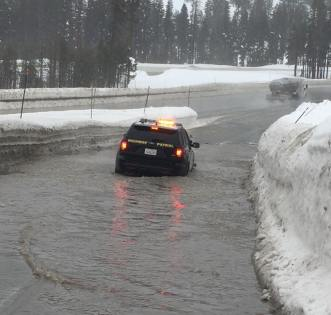 Here's a sample of roadway flooding already happening and the real rain hasn't arrived yet. Image via Truckee CHP