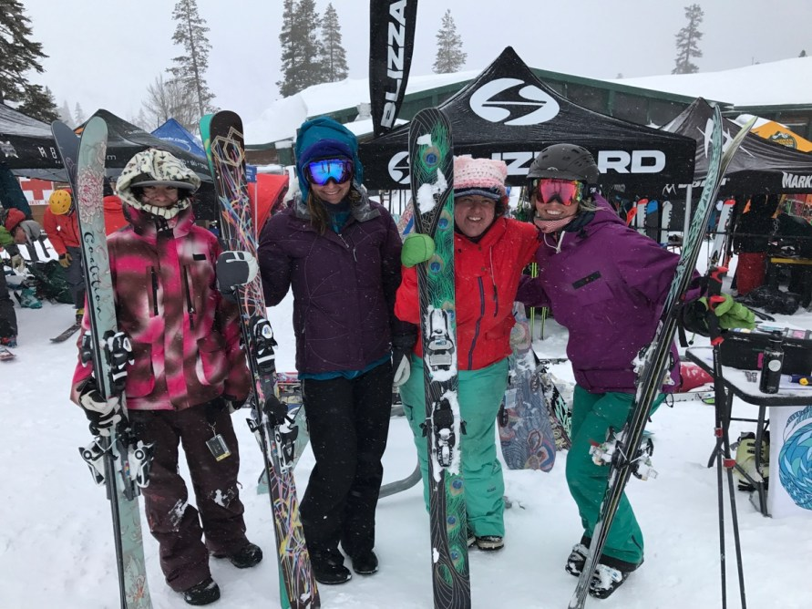 The ladies at Coalition Snow, bringing the stoke to the demo day.