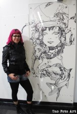 Located in Japantown, this drawing by Terada Katsuya was directly drawn on the wall with Sharpie, covered with a panel of plexiglass.