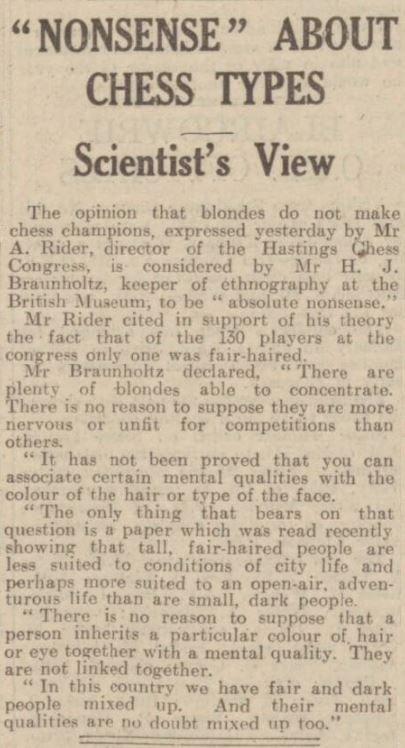 Dec 38 Hastings Chess Congress - reaction (Olimpiu G. Urcan)