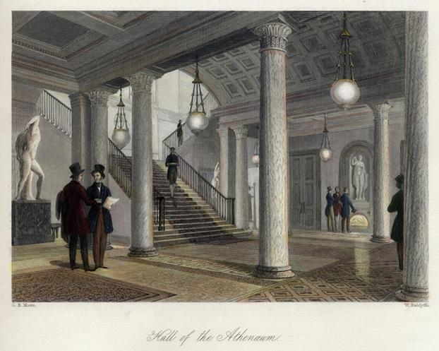 Hall_of_the_Atheneum_c.1845._Engraved_by_W.Radclyffe_drawing_by_G.B._Moore.