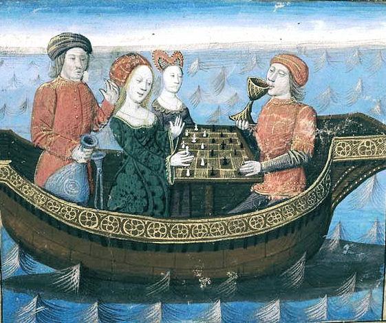 Tristano e Isotta bevono il filtro d'amore (XIV secolo)