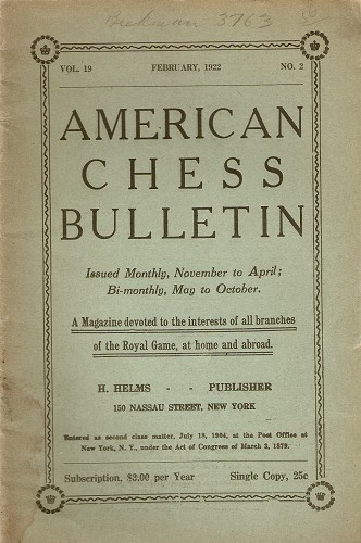 American Chess Bulletin 1922 (Feb)