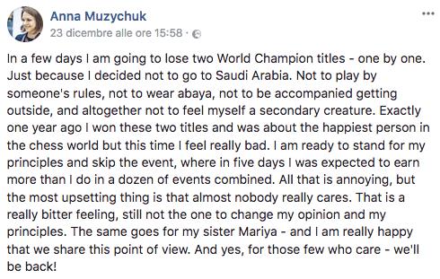 Dichiarazione A.Muzychuk su Riyad