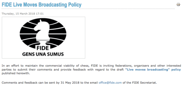 FIDE Live Moves Broadcasting Policy