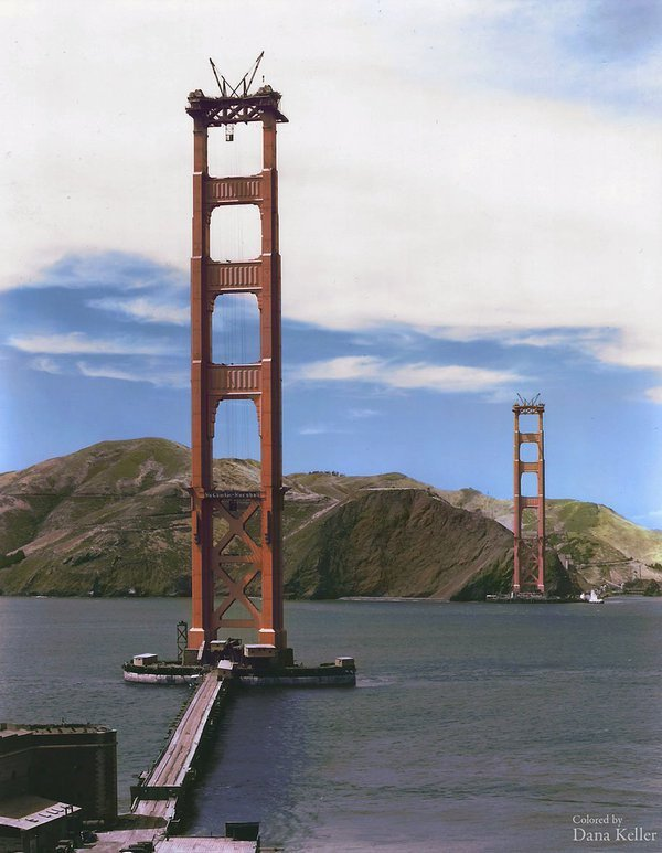 Golden Gate Bridge under construction (1934) (colorized)