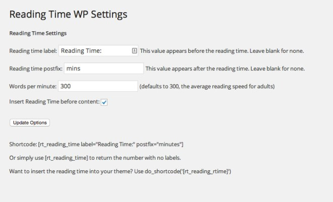display reading time in wordpress