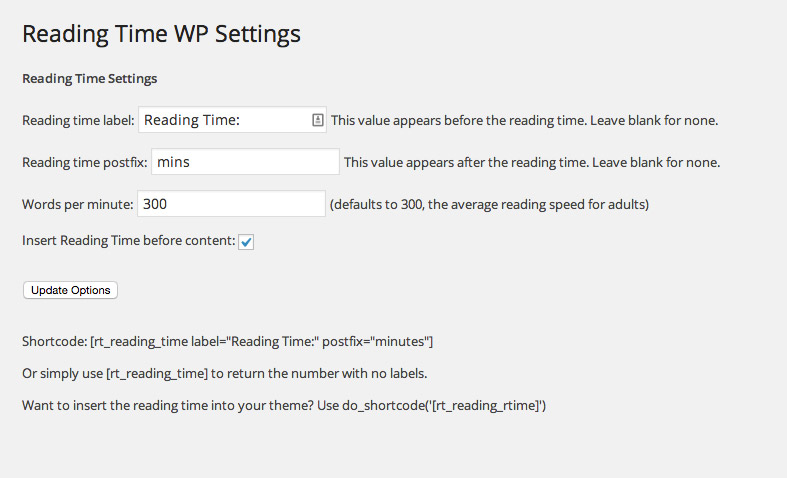 display reading time in wordpress