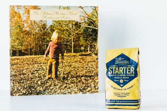 Starter coffee with Allman Brothers vinyl
