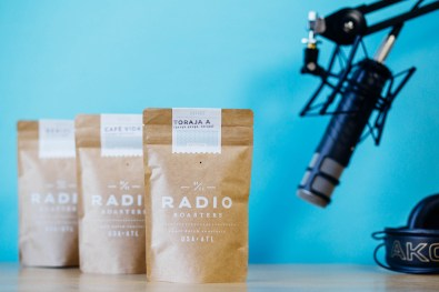 Radio Roasters Packaging and Microphone