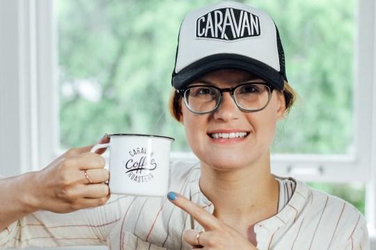 Melissa Rocking the Caravan Hat & Mug