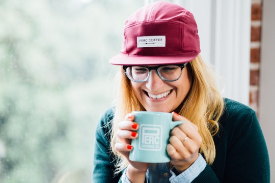 Melissa Laughing w: Hat & Mug