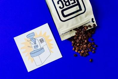 Perc Coffee Beans & Roaster Illustration