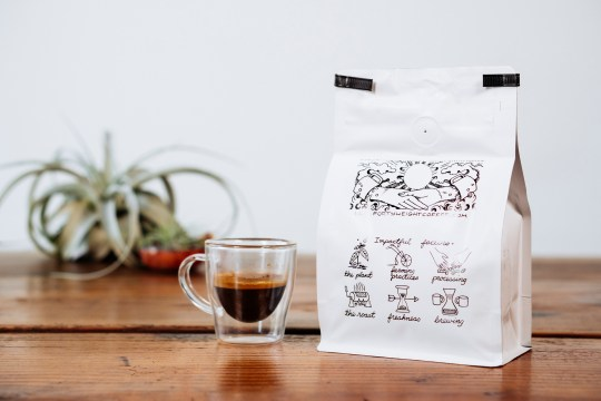 Forty Weight Coffee Roasters bag with illustrations on back