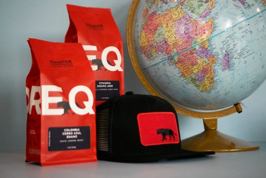 coffee bags, hat, and globe