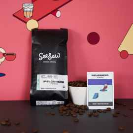 Illustrative background image with Seesaw's Melonhead coffee and coffee card information