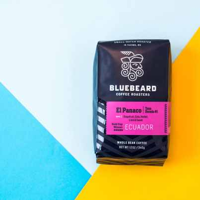 Bluebeard Coffee Roasters Ecuador coffee on colorful background