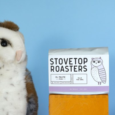 Stovetop Roasters El Palto Peru coffee with stuffed animal owl