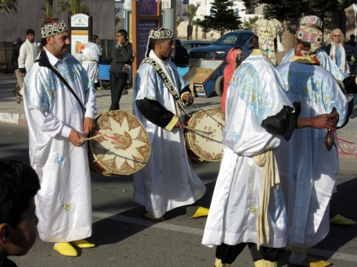 Essaouira musicians on parade