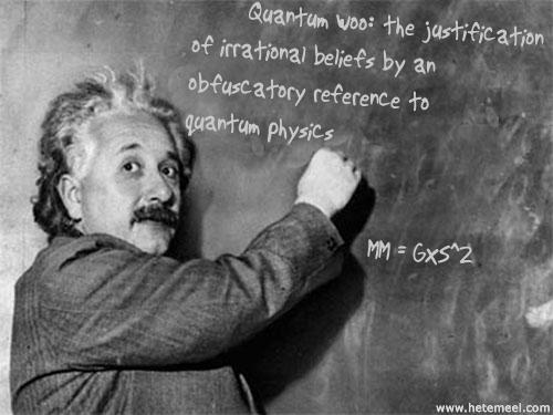 Einstein's blackboard with a definition of quantum woo