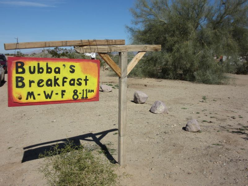 Sign for Bubba's Breakfast Slab City - A Smiling Jack Favourite