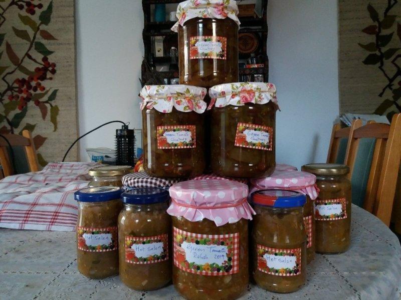 jars of green tomato chutney, green tomato relish, green tomato salsa