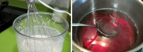 Batidora y gelatina de frambuesa