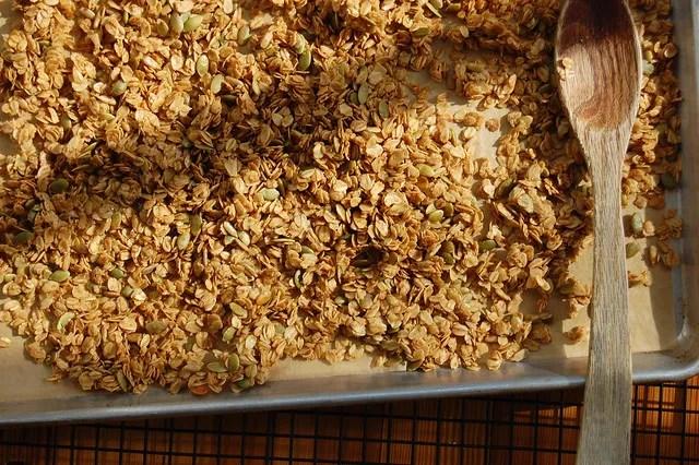 honey maple granola in sheet pan