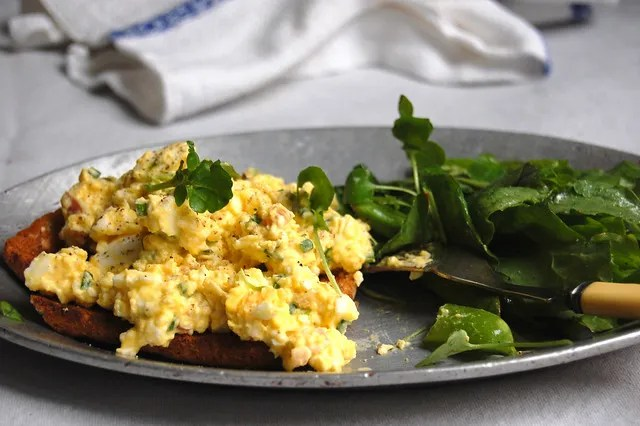 egg salad on toast with greens