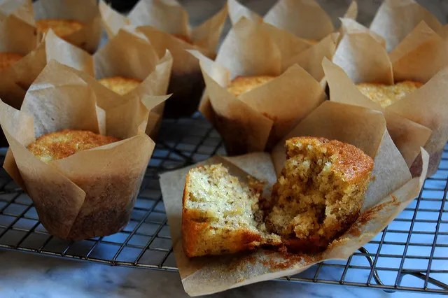banana bread muffins in brown wrapper