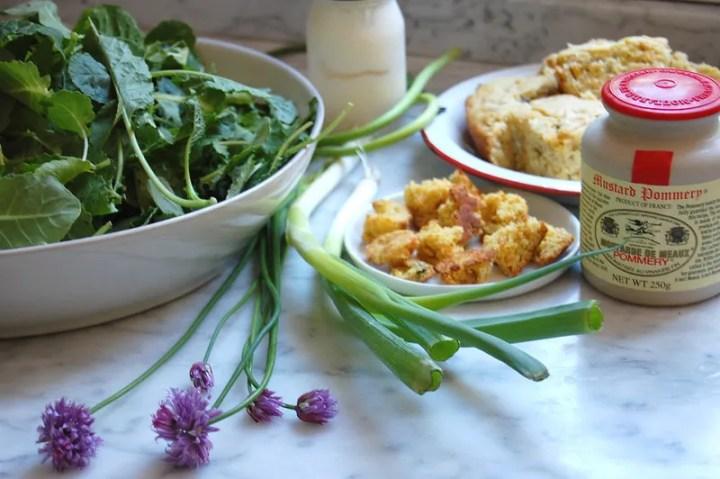 kale salad ingredients on marble