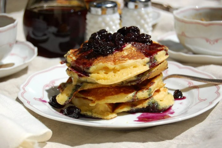 Cornmeal Buttermilk Pancakes With Blueberry Maple Syrup